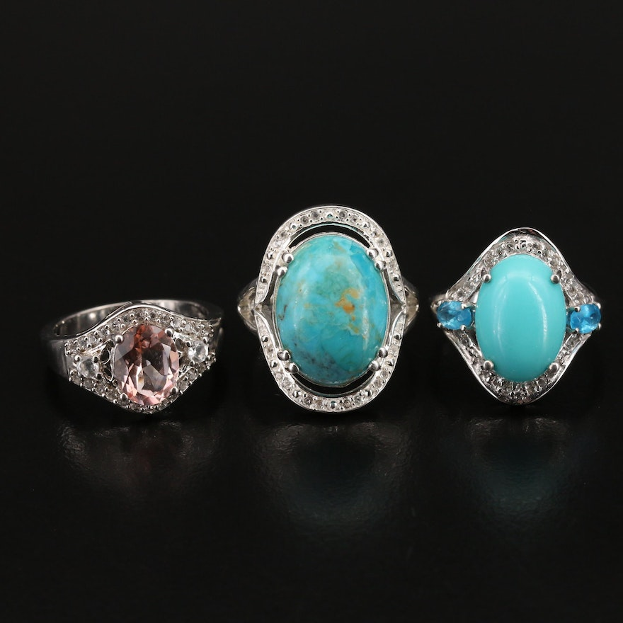 Sterling Rings Including Turquoise, Apatite and Other Gemstones