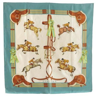 """Hermès """"Jumping"""" Silk Twill Scarf, 1970s"""