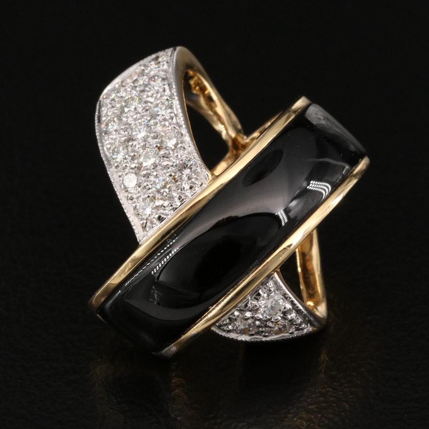 18K Black Onyx and Diamond Slide Pendant