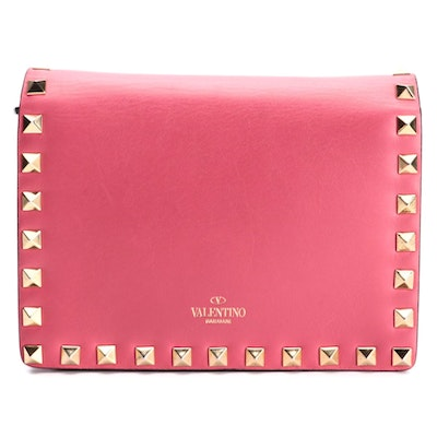 Valentino Rockstud Flap Front Crossbody in Hot Pink Leather