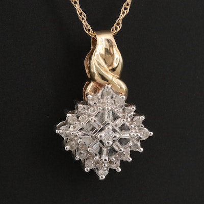 10K Diamond Cluster Pendant with 14K Chain Necklace