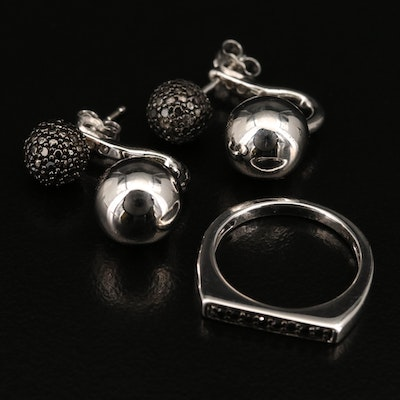 Sterling Silver Diamond Ring and Stud Earrings with Jackets