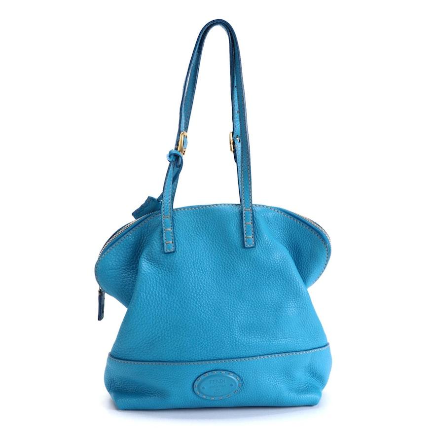 Fendi Selleria Blue Grained Leather Shoulder Bag