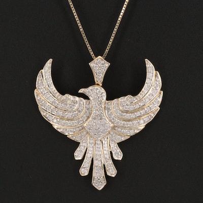 14K 1.42 CTW Diamond Pheonix Pendant Necklace