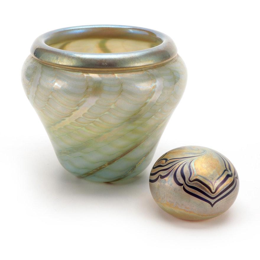 Nick Del Matto Handblown Iridescent Studio Art Glass Vase and Paperweight
