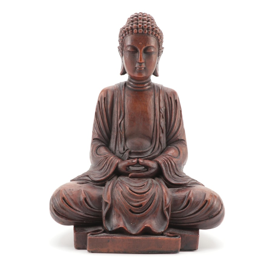 Carved Wood Meditation Form Sitting Buddha