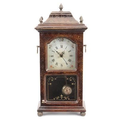 Three Hands Corp. Pendulum Shelf Clock with Fleur-de-lis Motif