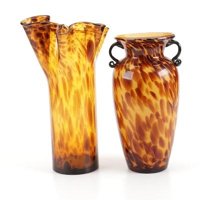 Tortoiseshell Glass Ruffled Rim and Amphora Shaped Vases