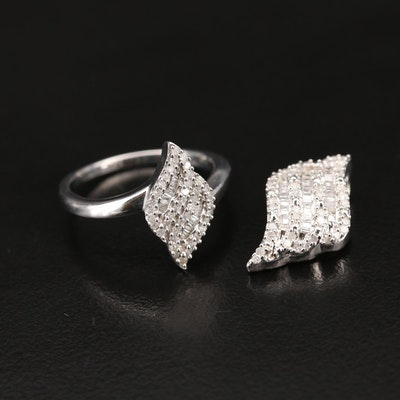 Sterling Diamond Ring and Slide Pendant Set
