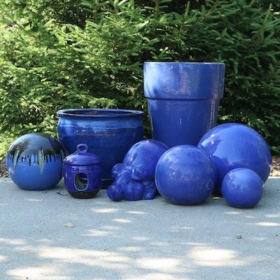 Cerulean Blue Glazed Terracotta Planters, Garden Spheres and Décor