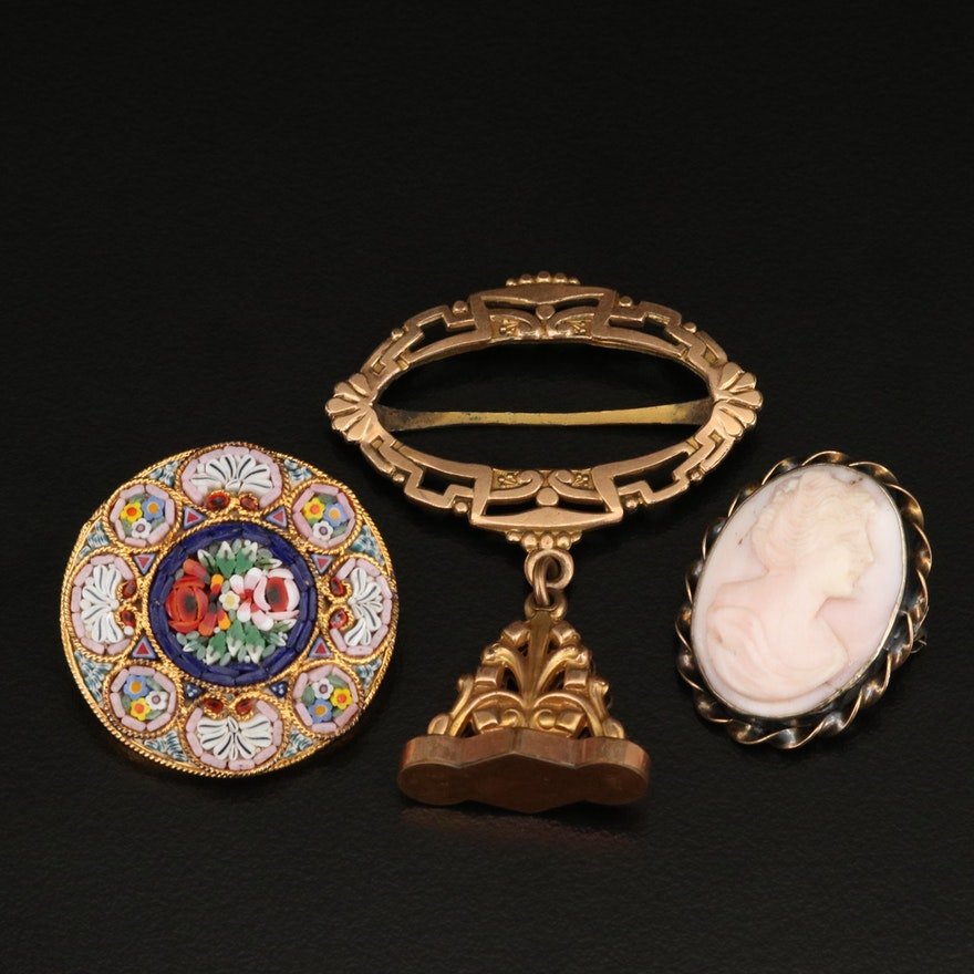 Watch Fob Charm on Slide, Italian Micromosaic and Gold Filled Cameo Brooches