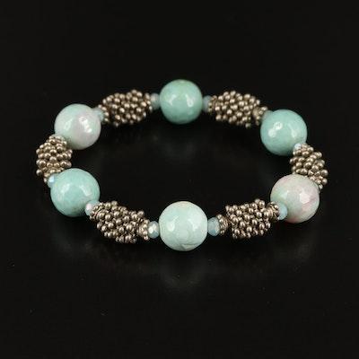 Agate and Plastic Expandable Bracelet