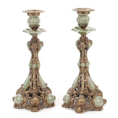 Vintage Gilded Metal and Ceramic Candle Holders