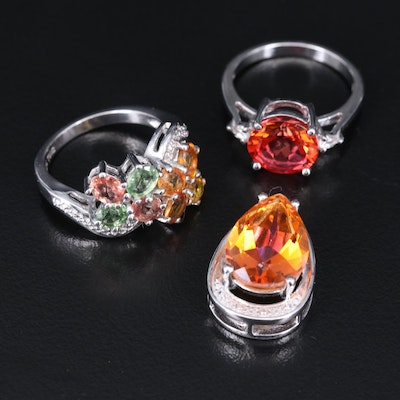 Sterling Rings and Pendant Including Diamond and Gemstone