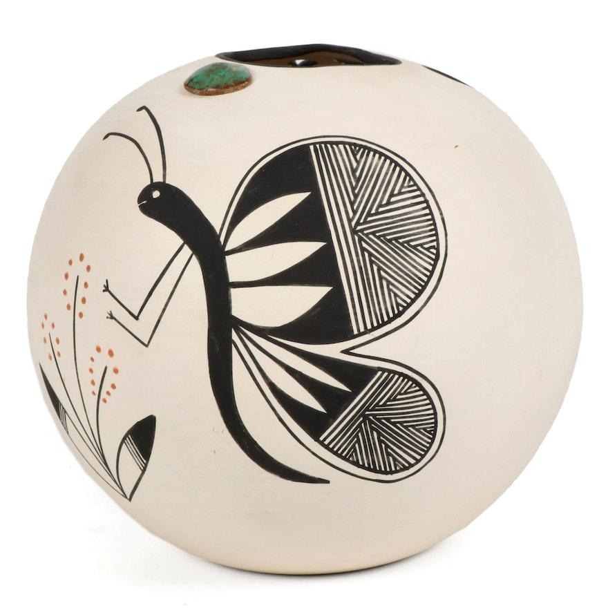 Black on White Ceramic Orb Vase, Contemporary