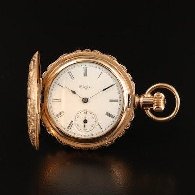 1894 Elgin Scalloped Edge Hunting Case Pocket Watch