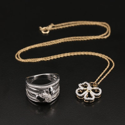 Sterling Diamond Flower Necklace and Bee Ring with 10K Accent