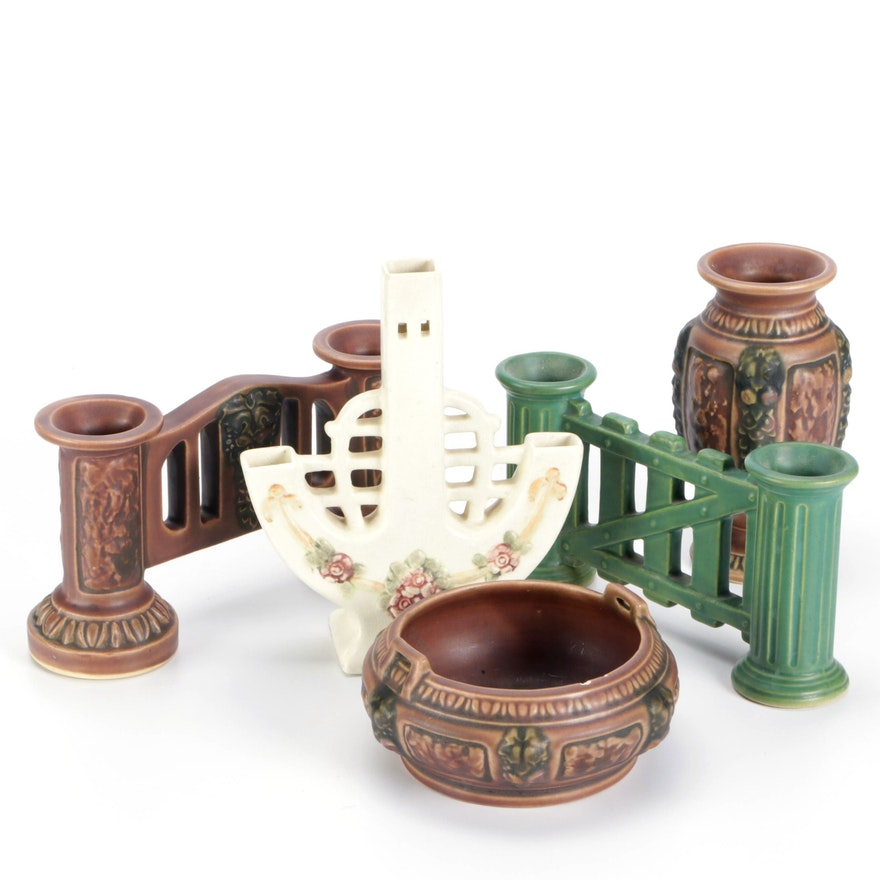 Double Candle Holders, and Other Ceramic Decor, Early to Mid 20th Century