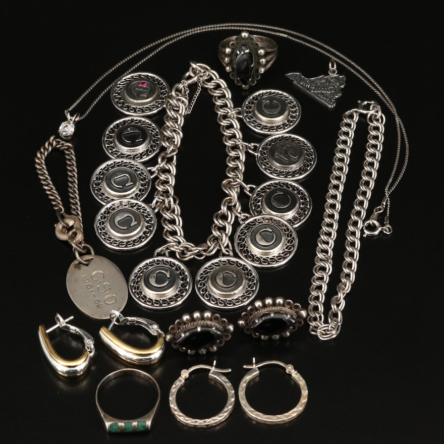 Jewelry Including Earrings, Charm Bracelet, Necklace and Pendants