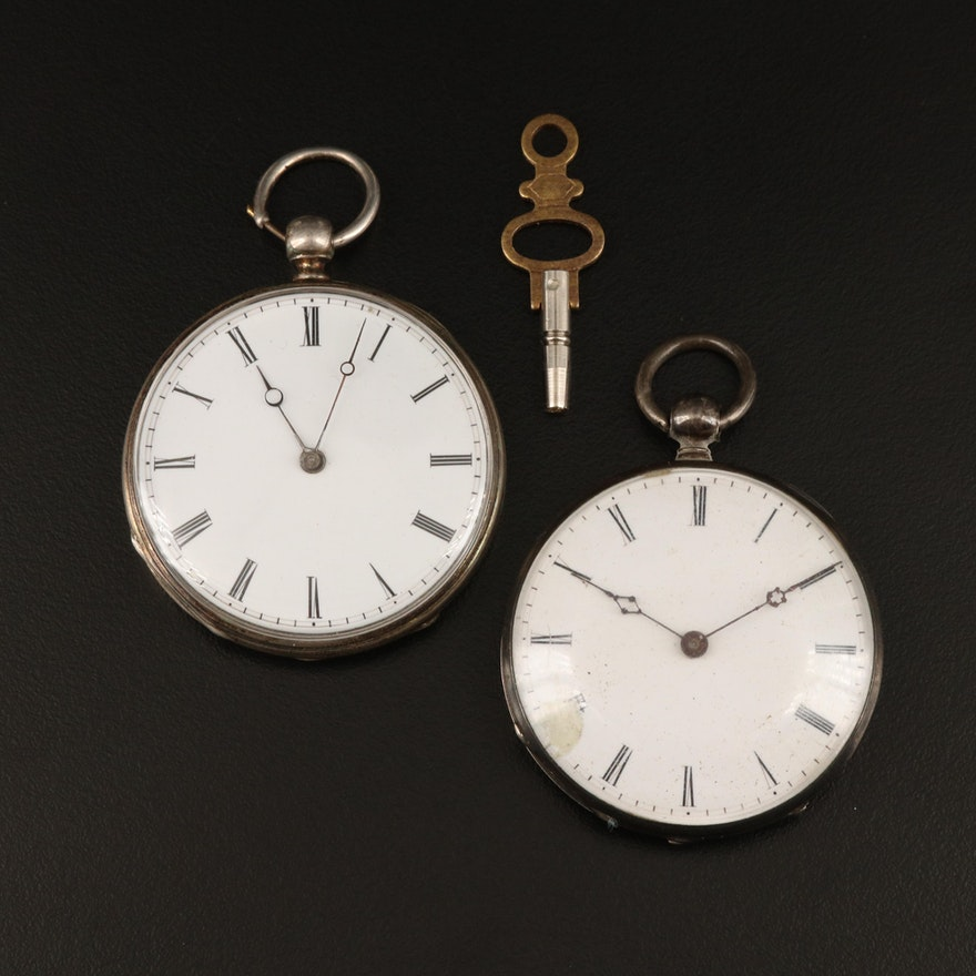 800 Silver Antique Key Wind & Set Pocket Watches