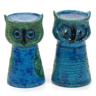 Italian Rosenthal Netter Ceramic Owl Form Candle Holders