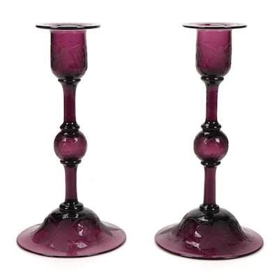 Grapevine Motif Etched Glass Candlesticks, Early to Mid-20th Century
