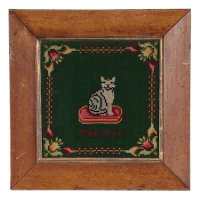 "Handmade Needlepoint Wall Panel ""The Cat"", Late 20th Century"
