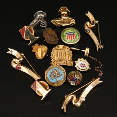 Lapel Pins Featuring 10K Gavel and Avon President's Club Pins