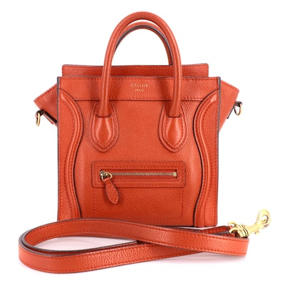 Céline Nano Luggage Two-Way Bag in Red Drummed Calfskin Leather