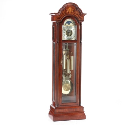 Sligh Federal Style Cherrywood, Flame Mahogany, and Marquetry Grandfather Clock