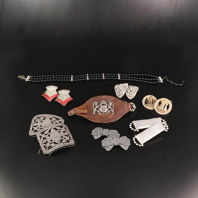 Jewelry Selection Featuring French Cut Steel Shoe Buckles and Rhinestone Clips