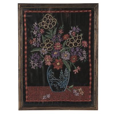 Lillian Krauss Floral Still Life Embroidery, 1937