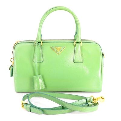 Prada Green Saffiano Patent Leather Bauletto Two-Way Bag
