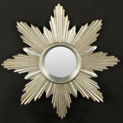 Silver Tone Sunburst Wall Mirror, Contemporary