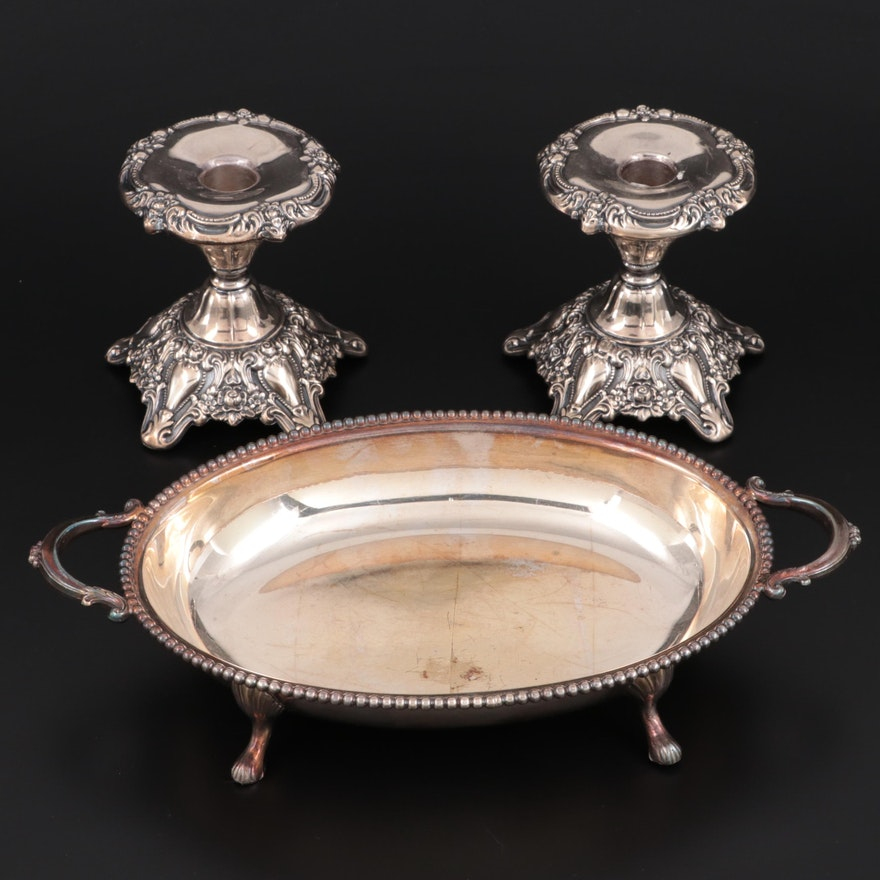 Wallace and Lunt Silver Plate Footed Bowl and Baroque Candlesticks