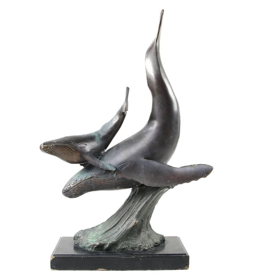 Humpback Whales Brass Sculpture