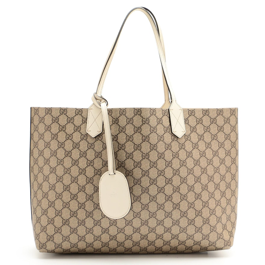 Gucci Medium Reversible Tote in GG Supreme Canvas and Ivory Leather