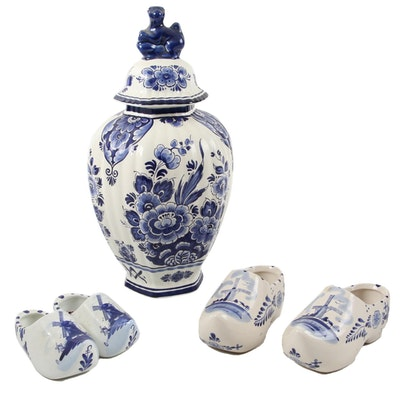 Dutch Delft's Hand-Painted Ceramic Ginger Jar and Dutch Shoes
