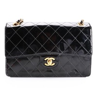 Chanel Classic Flap Black Patent Leather Chain Strap Shoulder Bag