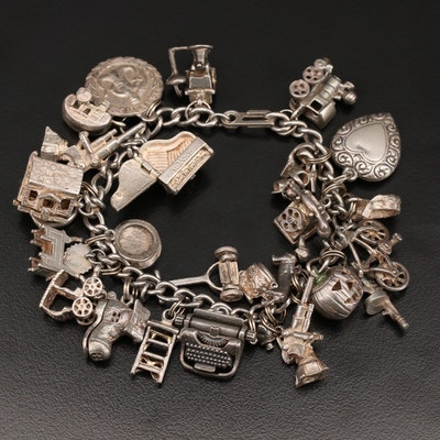 Vintage Sterling Charm Bracelet Including Articulated Piano