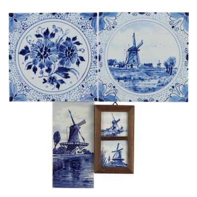 Delft Blue Faïence Hand-Painted Ceramic Tile Wall Hangings, Mid-20th Century