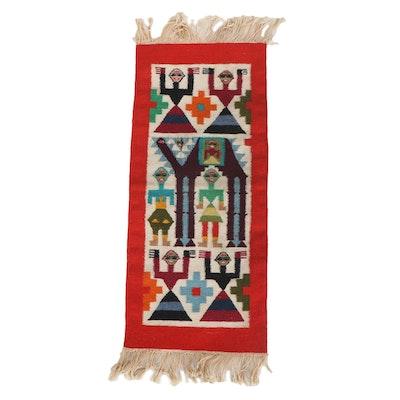Handwoven Moroccan Wool Kilim Wall Hanging, 1970s