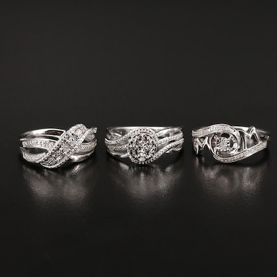 """Sterling Diamond Rings Featuring """"Mom"""" Ring"""