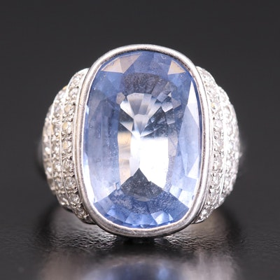 Platinum 9.46 CT Sapphire and Diamond Ring