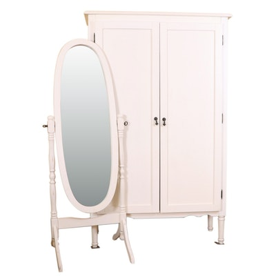 Arhaus Off-White Linen Cabinet and Cheval Mirror