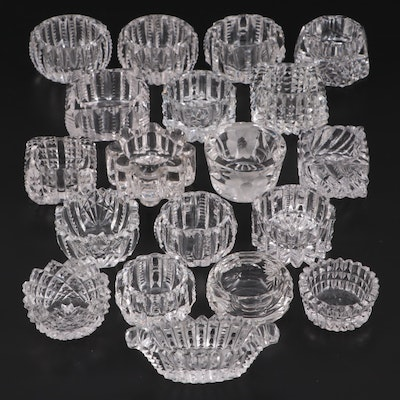 Cut Crystal and Glass Individual Salt Cellars, Early to Mid 20th Century