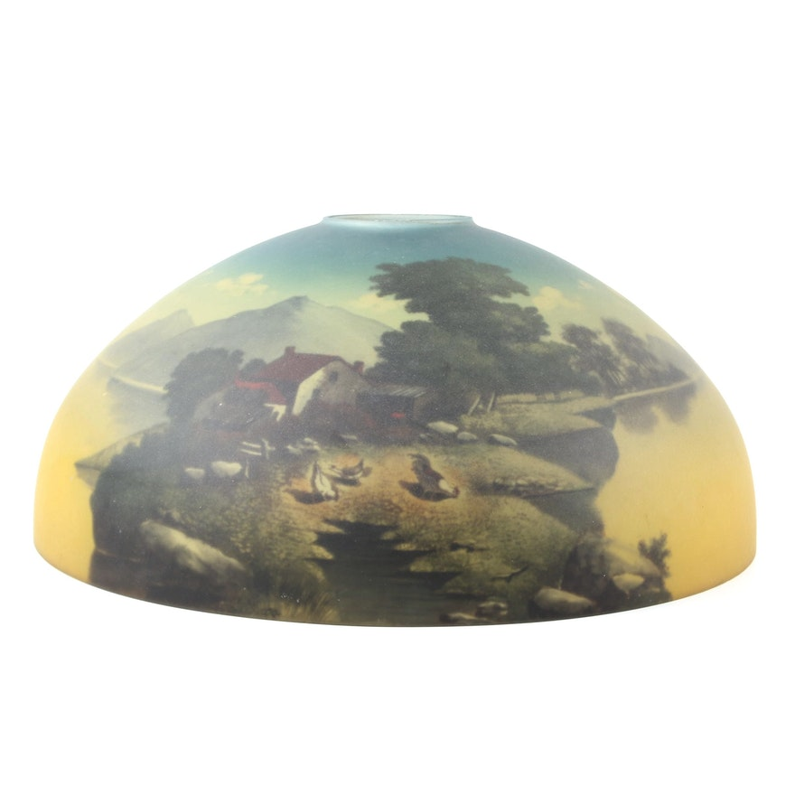 Satin Glass Reverse Painted Lamp Shade