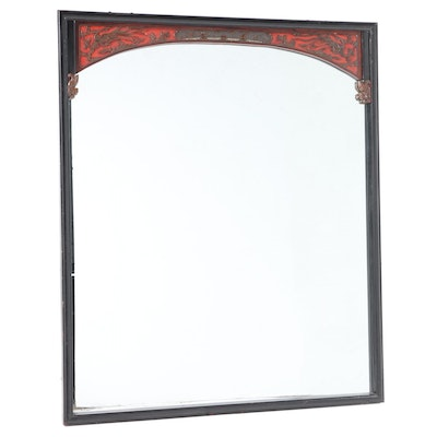 Chinese Lacquered and Parcel-Gilt Mirror