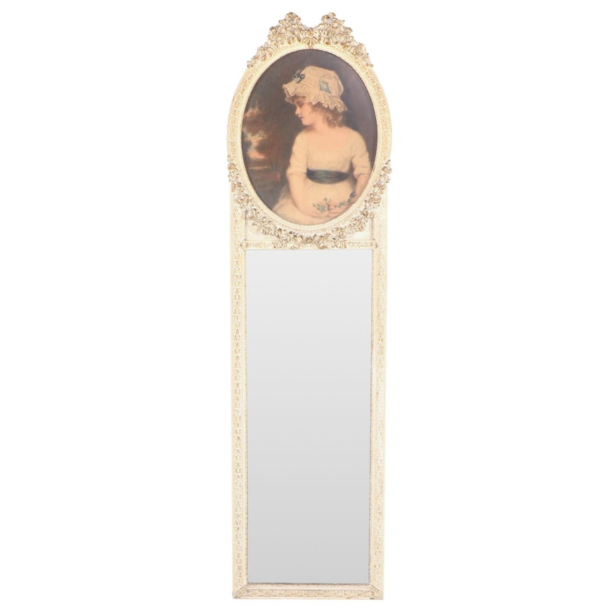 Louis XVI Style Cream-Painted and Parcel-Gilt Trumeau Mirror