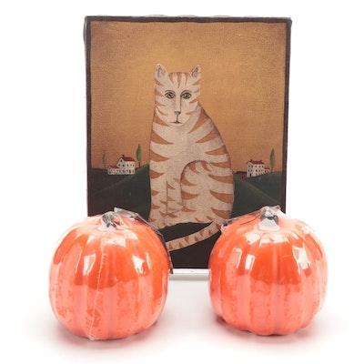 "Folk Art Style Acrylic Painting ""Thomas the Cat"" andPumpkin Form Candles"